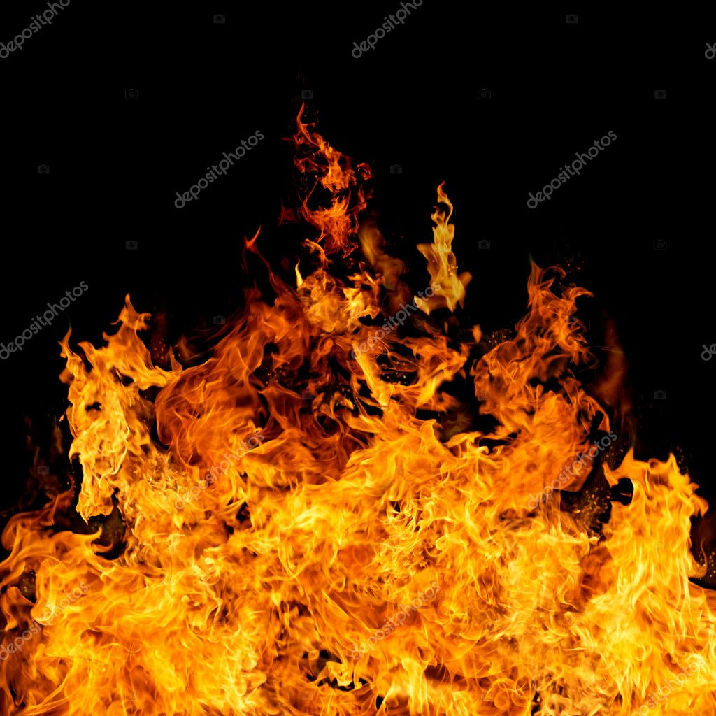 Burning flame or fire isolated on black background  Stock Photo #5130892