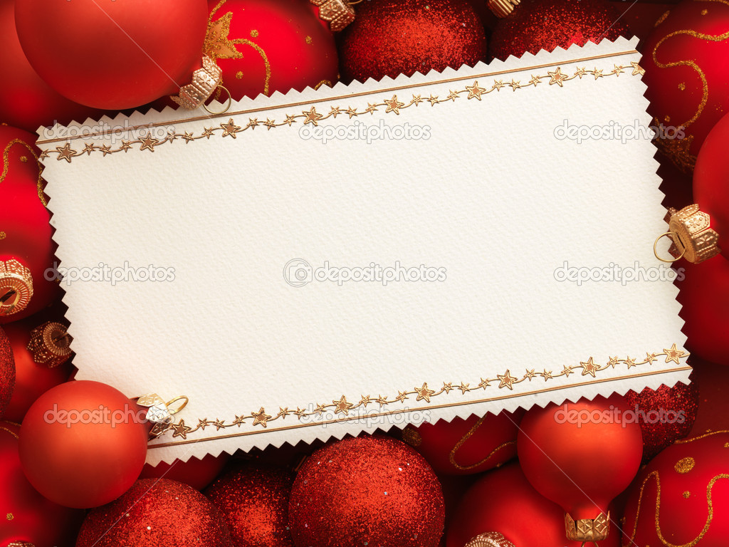 Christmas card with decoration on red background. — Stock Photo #5135445