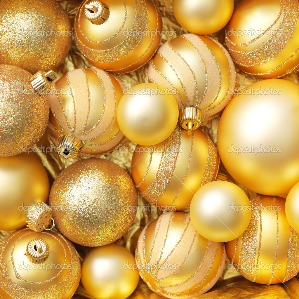Christmas balls gold background.  Stock Photo #5137138