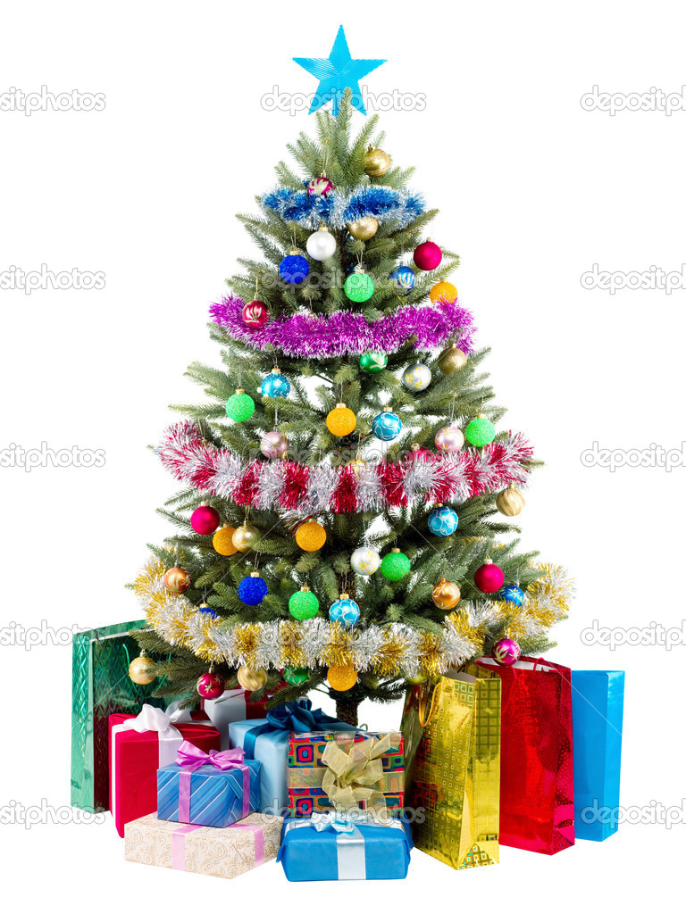 Christmas Tree and Gifts isolated on white background — Stock Photo #5139028