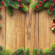 Christmas fir tree on the wooden board - Stockfoto