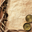 Compass, rope, paper and chain — Stock Photo
