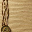 Vintage paper, rope and compass on sand — Stock Photo #5146482