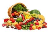 Färska grönsaker, frukter och andra livsmedel. — Stockfoto