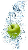 Apple in spray of water. — Stock Photo