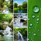 Diferent waterfall and river — Stock Photo