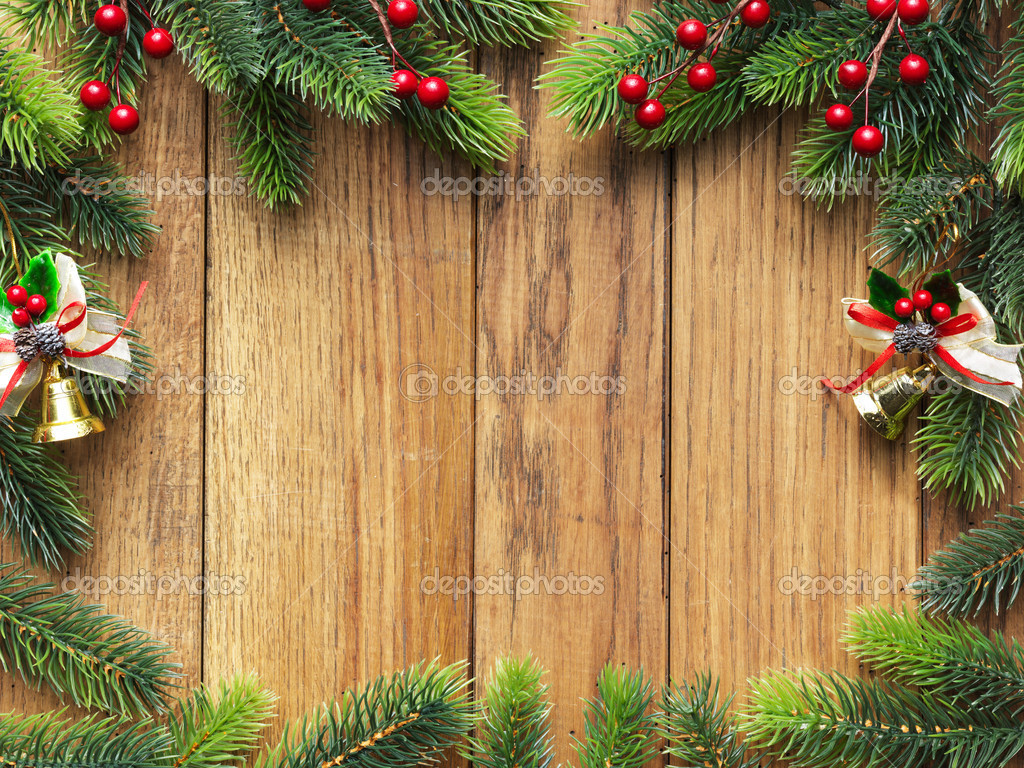 Christmas fir tree on the wooden board — Foto Stock #5143602