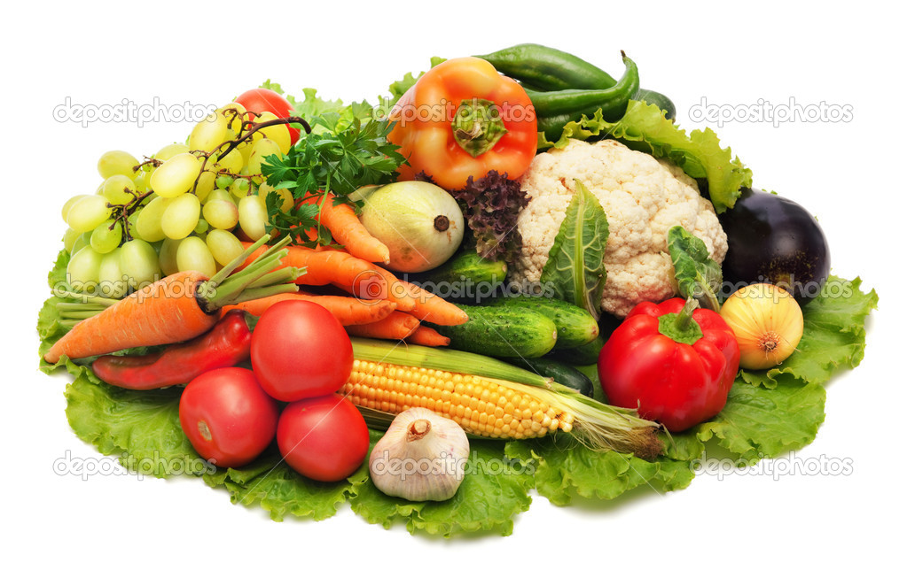 Fresh Vegetables, Fruits and other foodstuffs. Background. — Stock Photo #5143942