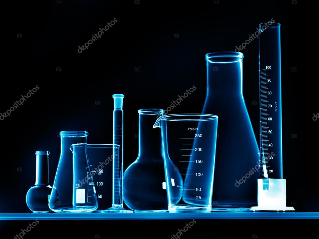 Chemical Laboratory Wallpaper Flask With Chemicals And Test