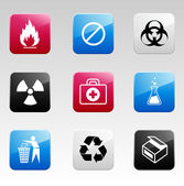 Color danger icons — Stock Vector