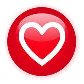 Signle red heart button — Vector de stock