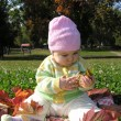 Foto Stock: Baby sitting in leaves autumn