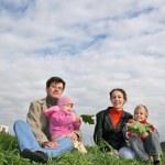 Family of four on autumn grass — Stock Photo #3537648