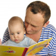 Granddaughter read book with grandfather isolated — Stock Photo