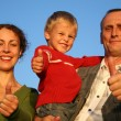 Boy, mother and grandfather giving ok - Stockfoto