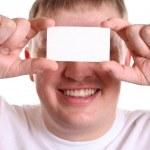 男子用卡的眼睛上的文本 — 图库照片