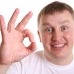 chlapec s ok znamení — Stock fotografie