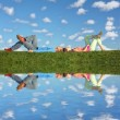 Stock Photo: Couple lies under clouds