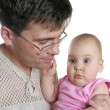 Father with baby isolated — Stock Photo