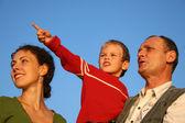 Rapaz, mãe e avô — Foto Stock