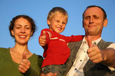 Boy, mother and grandfather giving ok — Stock Photo