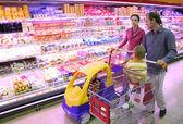 Familia en la tienda de alimentos — Foto de Stock