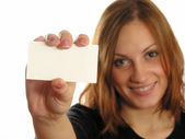 Girl with card for text — Stock Photo