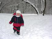 Run boy in winter wood — Stock Photo