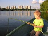 Child play fisher — Stock Photo