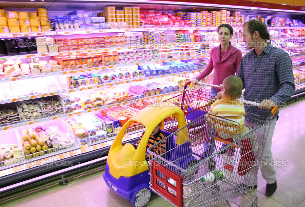 Family in food shop  Stock Photo #3538218