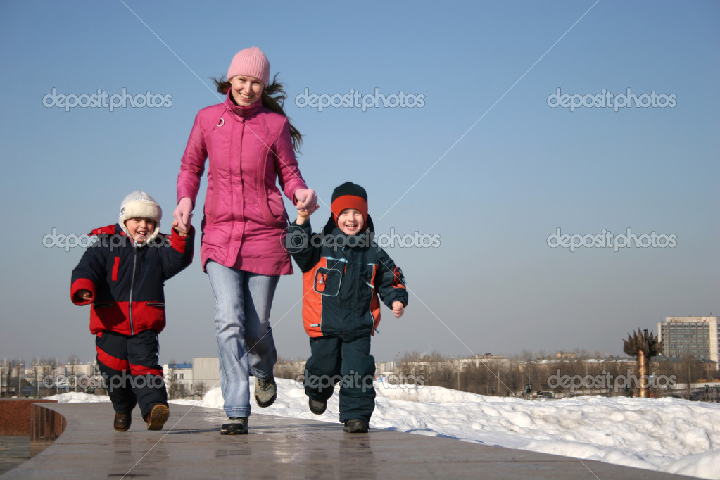 Mother with children runnig  Stock Photo #3538297