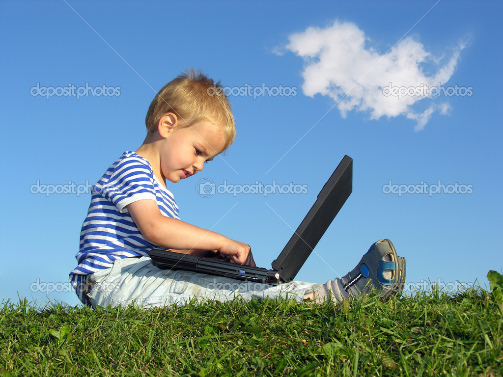 Child with notebook sit blue sky with cloud — Stock Photo #3539669