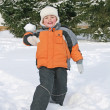 Stock Photo: Boy throw snow