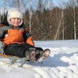 Boy on sled — Stock Photo #3540275