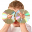 Child with two cd — Stock Photo #3540311