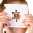 Boy with hole puzzle — Stock Photo #3540315