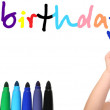Stock Photo: Child write happy birthday 2