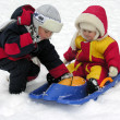 Stock Photo: Child and baby. winter 2