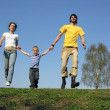 Running family. spring . 3 — Stock Photo