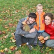 Autumn family with stand boy — Stock Photo