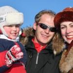 Winter family faces 2 — Stock Photo