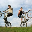 Two Mountain Bikers on second weels — Stock Photo
