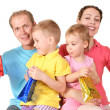 Presents bags for color family of four — Stock Photo