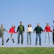 Jumping group — Stock Photo