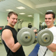 Stock Photo: Gym boys with dumbbells