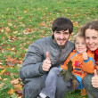 Stock Photo: Autumn family with finger OK