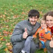 Autumn family with finger OK — Stock Photo
