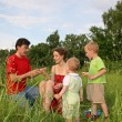 Stock Photo: Family of four on meadow 3 (autoshoot from tripod)
