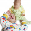 Child with baby on white — Stock Photo #3541369