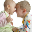 Child with baby on white — Stock Photo #3541371